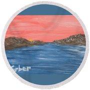 Pink Sunset Round Beach Towel