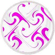 Pink Swirls Round Beach Towel