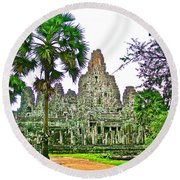 Pink Tower In The Bayon In Angkor Thom In Angkor Wat Archeological Park Near Siem Reap-cambodia Round Beach Towel