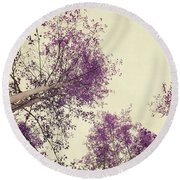 Pink Trees Round Beach Towel