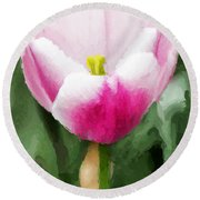 Pink Tulip - A Digital Painting Round Beach Towel