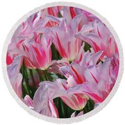 Pink Tulips 3 Round Beach Towel