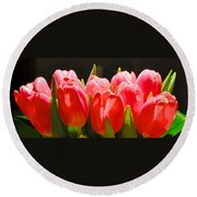 Pink Tulips In A Row Round Beach Towel