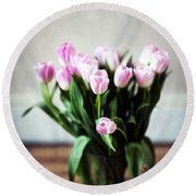 Pink Tulips In A Vase Round Beach Towel