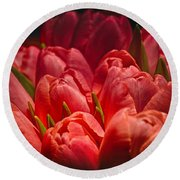 Fucshia Tulips Round Beach Towel