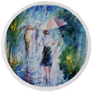 Pink Umbrella - Palette Knife Oil Painting On Canvas By Leonid Afremov Round Beach Towel