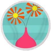 Pink Vase On Blue Round Beach Towel