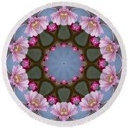 Pink Weeping Cherry Blossom Kaleidoscope Round Beach Towel