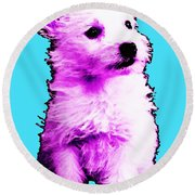 Pink Westie - West Highland Terrier Art By Sharon Cummings Round Beach Towel