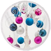 Pink White And Blue Christmas Round Beach Towel