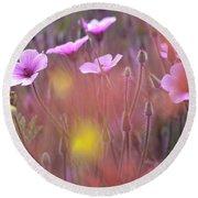 Pink Wild Geranium Round Beach Towel
