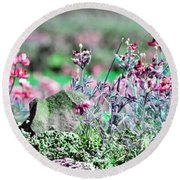Pink Wildflowers Round Beach Towel