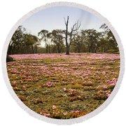 Pink Wildflowers Round Beach Towel