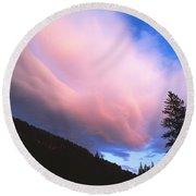 Pink Yellowstone Sunset Round Beach Towel