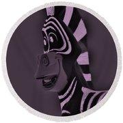 Pink Zebra Round Beach Towel