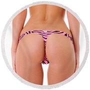 Pink Zebra Thong Round Beach Towel