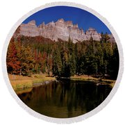 Pinnacle Buttes On Brooks Lake Creek Rocky Mountains Round Beach Towel
