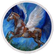 Pinto Pegasus With Blue Mane Round Beach Towel