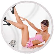 Pinup Girl In Pink Round Beach Towel