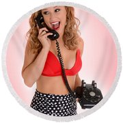 Pinup Girl On The Phone Round Beach Towel