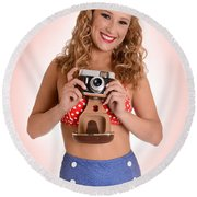 Pinup Photographer Round Beach Towel