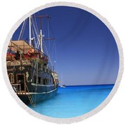 Pirate Boat Round Beach Towel