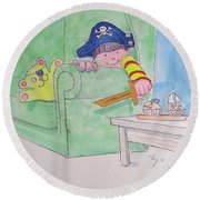 Pirate Poster For Kids Round Beach Towel