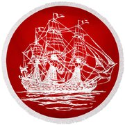 Pirate Ship Artwork - Red Round Beach Towel