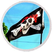 Pirate Ship Flag Of The Skull And Crossbones Round Beach Towel