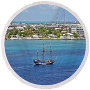 Pirate Ship In Cozumel Round Beach Towel