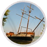 Pirate Ship Or Sailing Ship Round Beach Towel