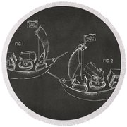 Pirate Ship Patent Artwork - Gray Round Beach Towel by Nikki Marie Smith