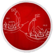 Pirate Ship Patent Artwork - Red Round Beach Towel by Nikki Marie Smith