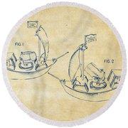 Pirate Ship Patent Artwork - Vintage Round Beach Towel by Nikki Marie Smith