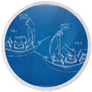 Pirate Ship Patent - Blueprint Round Beach Towel by Nikki Marie Smith