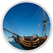 Pirate Ship Round Beach Towel