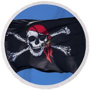 Pirate Skull Flag With Red Scarf Round Beach Towel