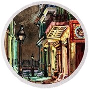 Pirate's Alley Evening Round Beach Towel