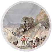Pirates From The Barbary Coast Capturin Gslaves On The Mediterranean Coast Round Beach Towel by Albert Robida