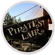 Pirates Lair Signage Frontierland Disneyland Round Beach Towel