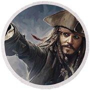 Pirates Of The Caribbean Johnny Depp Artwork 2 Round Beach Towel