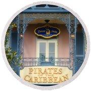 Pirates Signage New Orleans Disneyland Round Beach Towel