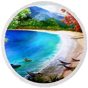 Pirogues At Rest Round Beach Towel