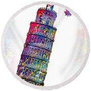 Pisa Tower  Round Beach Towel
