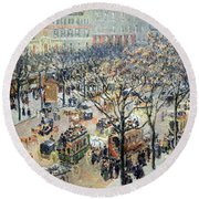 Pissarro's Boulevard Des Italiens In Morning Sunlight Round Beach Towel