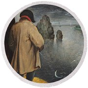 Pissing At The Moon  Round Beach Towel by Pieter the Younger Brueghel