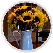 Pitcher Of Sunflowers Round Beach Towel