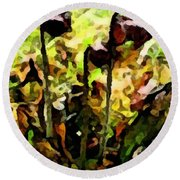 Pitcher Plant Abstraction Round Beach Towel