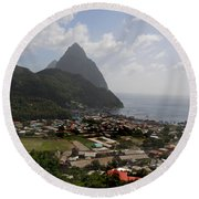 Pitons St. Lucia Round Beach Towel
