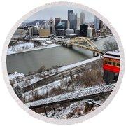 Pittsburgh Duquesne Incline Winter Round Beach Towel